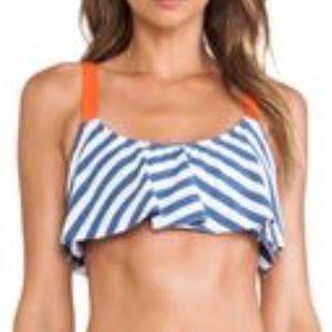 Splendid Swim Blue & White Striped Bikini Top Sz M